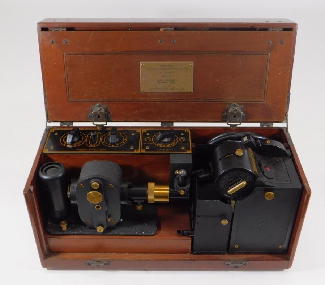 Antique Electrocardiograph Machine in Wood Box