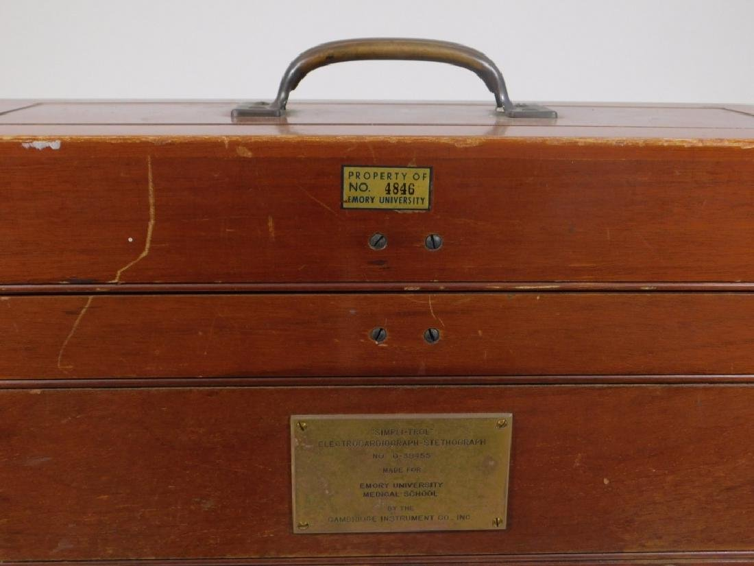 Antique Electrocardiograph Machine in Wood Box - 6
