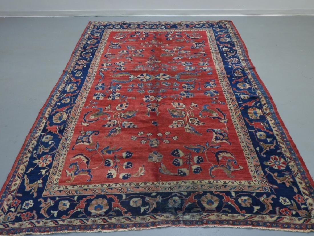 Antique Persian Mahal Pattern Wool Carpet Rug
