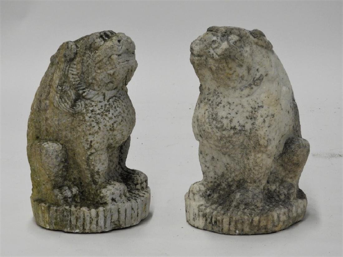 PR Chinese Carved Marble Foo Lion Temple Figures