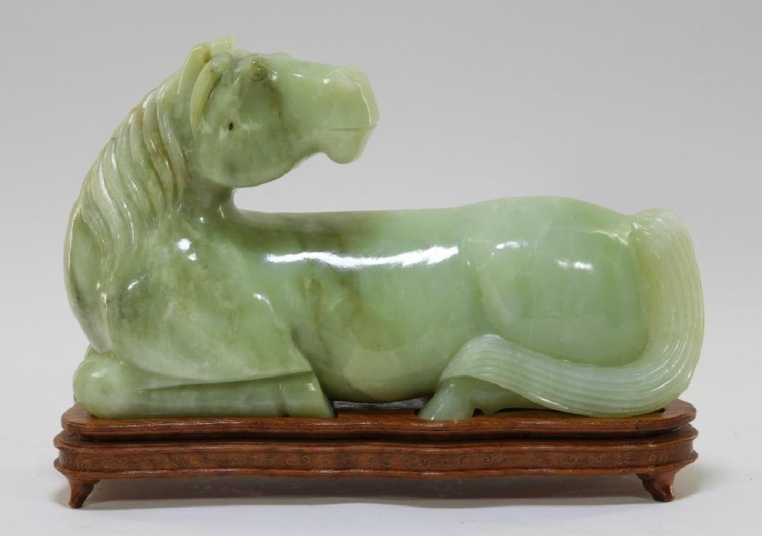 Chinese Carved Jade Sculpture of Recumbent Horse