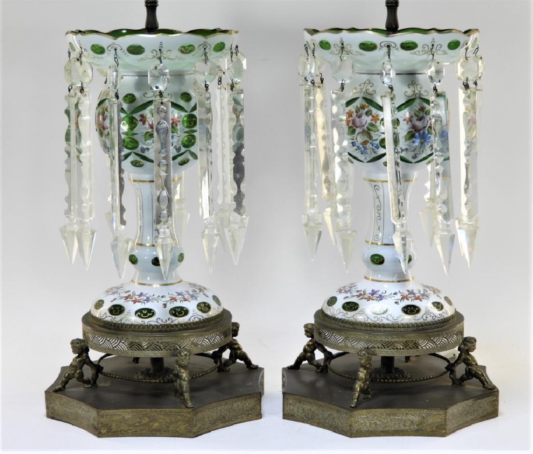 PR 19C Bohemian Gilt Cut Overlay Glass Luster Lamp