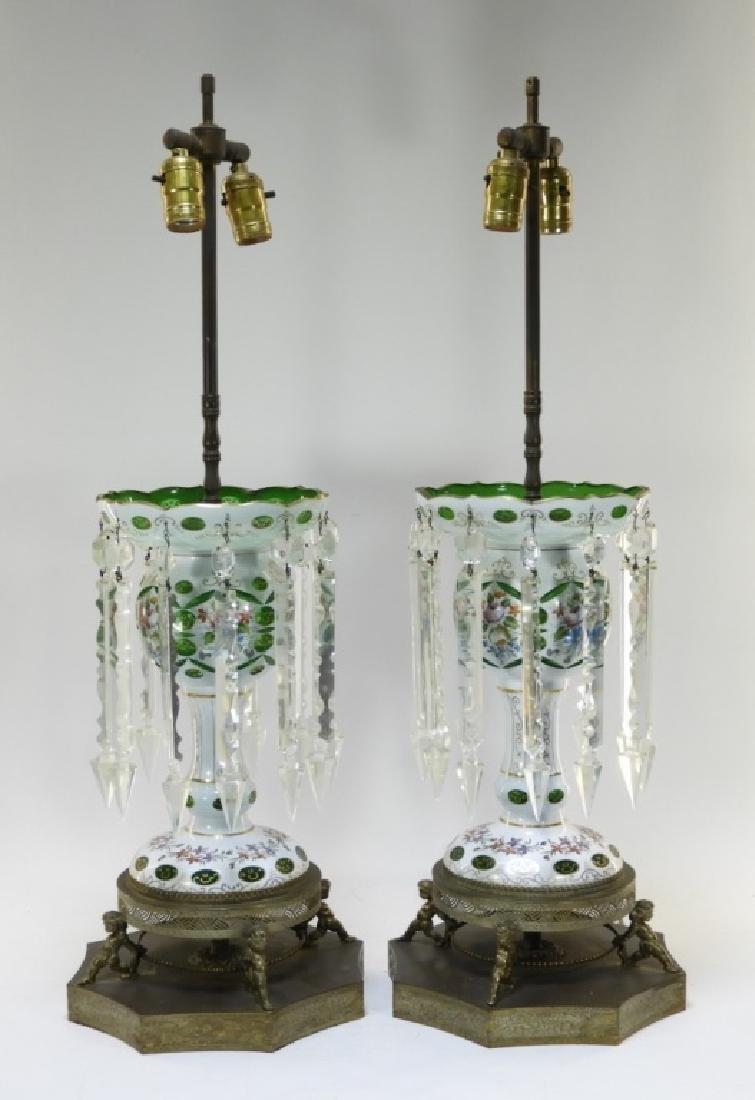 PR 19C Bohemian Gilt Cut Overlay Glass Luster Lamp - 2