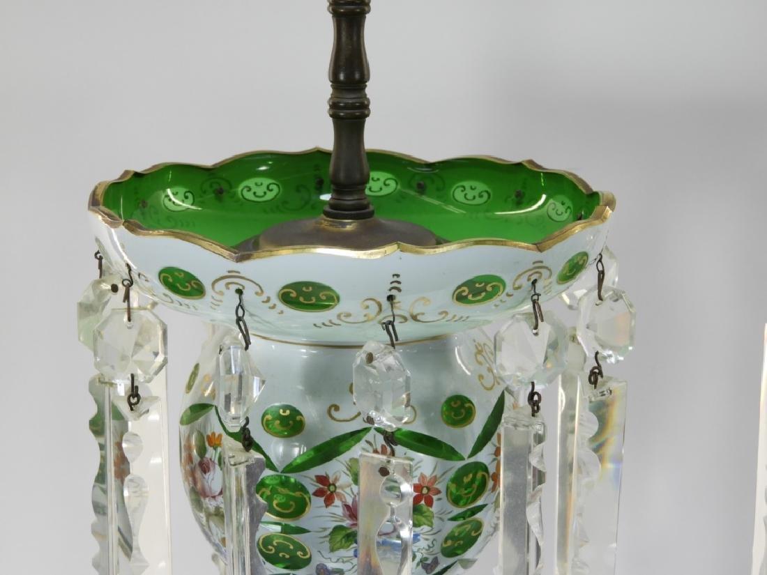 PR 19C Bohemian Gilt Cut Overlay Glass Luster Lamp - 3