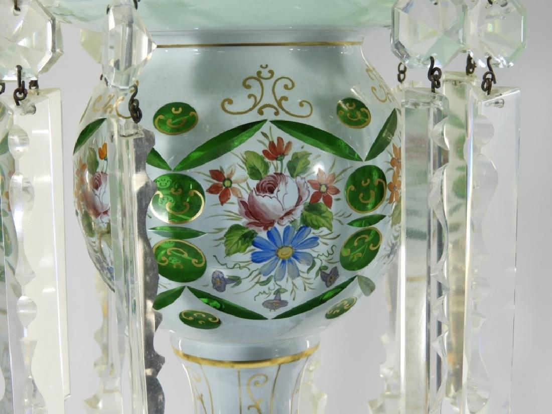 PR 19C Bohemian Gilt Cut Overlay Glass Luster Lamp - 4