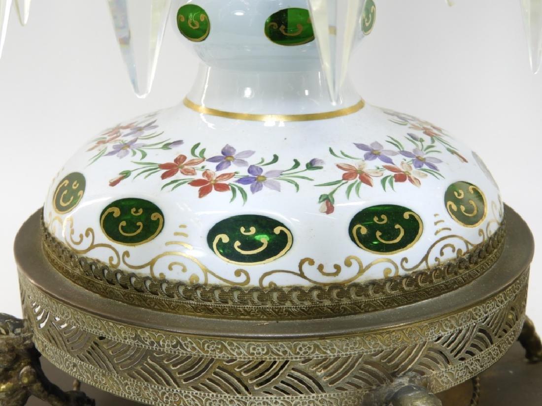 PR 19C Bohemian Gilt Cut Overlay Glass Luster Lamp - 6