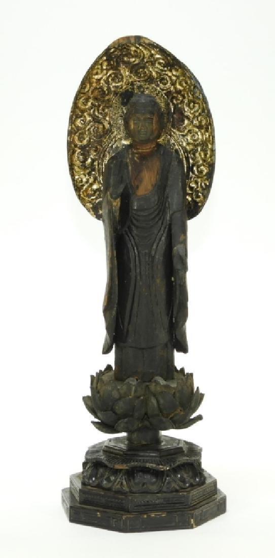 19C Japanese Edo Gilt Lacquer Wood Kannon Buddha