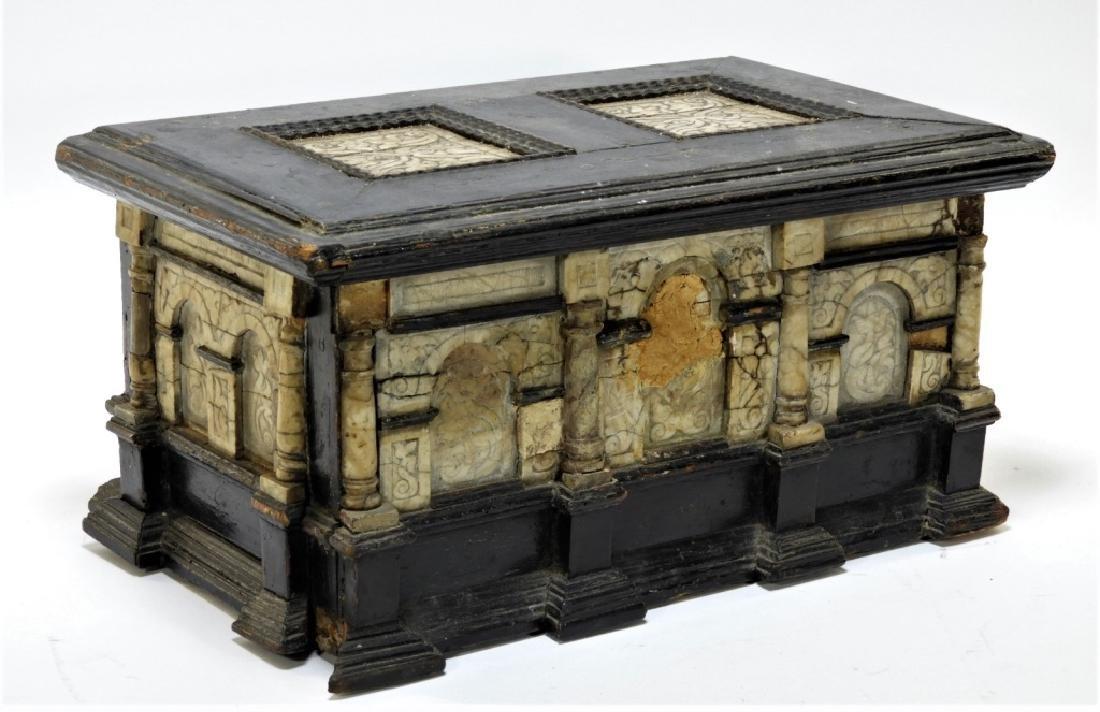 17C. Italian Renaissance Marble Travel Box Chest