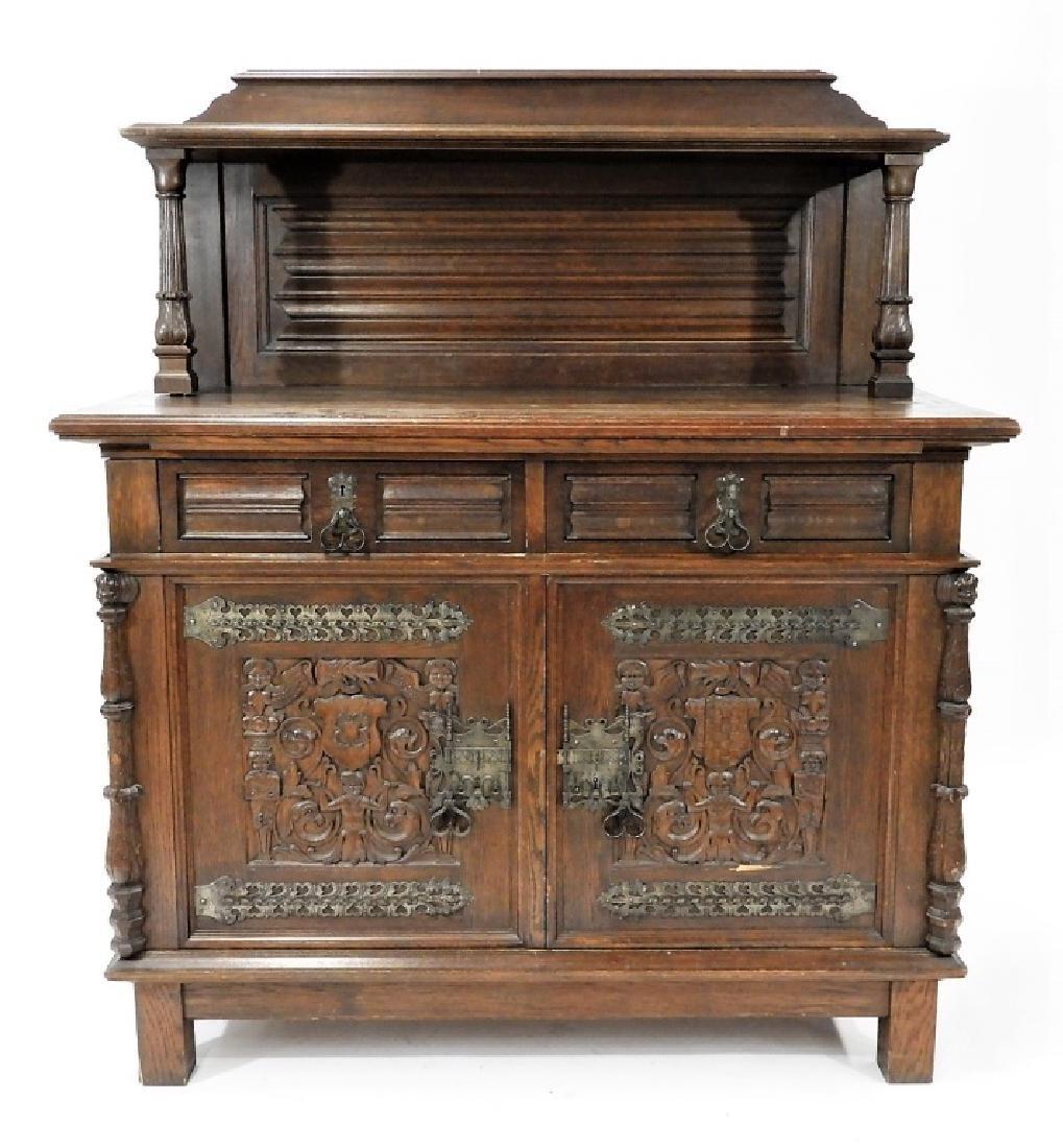 English Renaissance Oak Carved Hunt Board Server