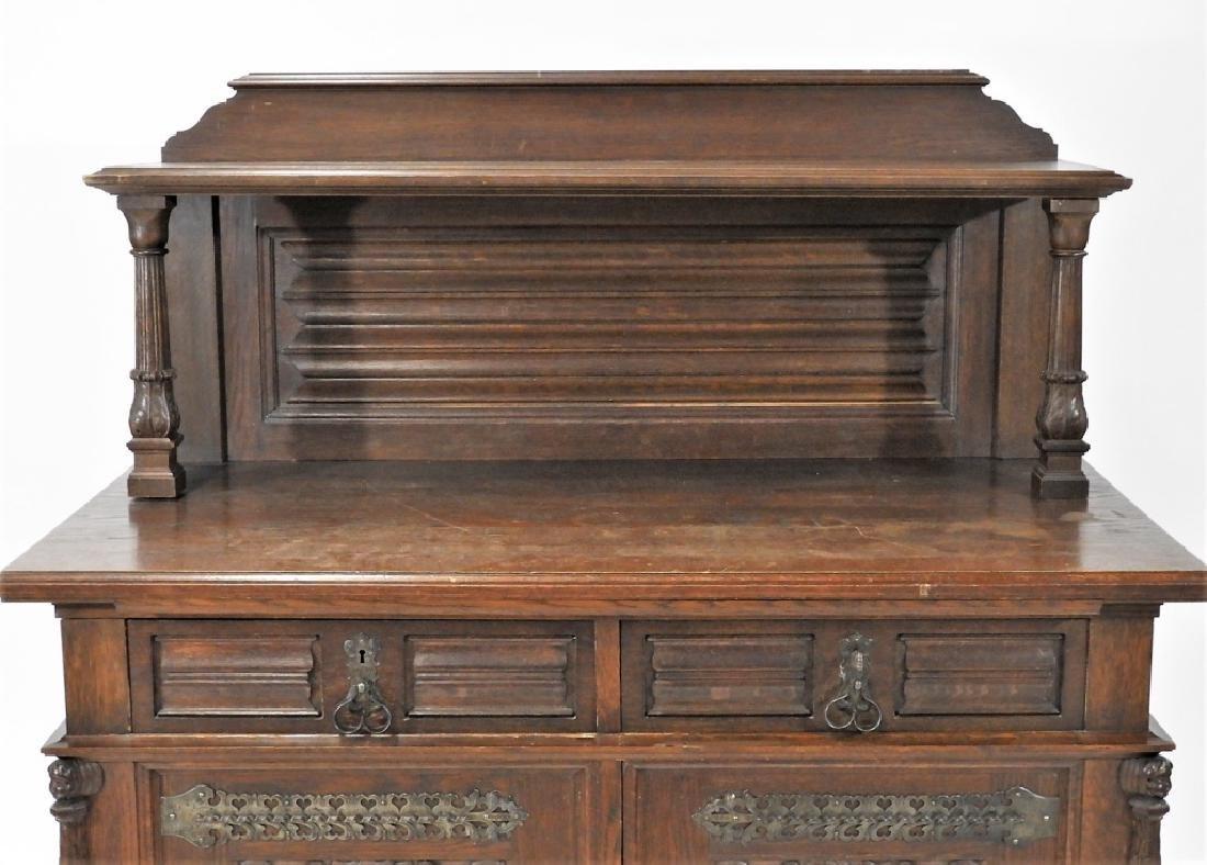 English Renaissance Oak Carved Hunt Board Server - 2