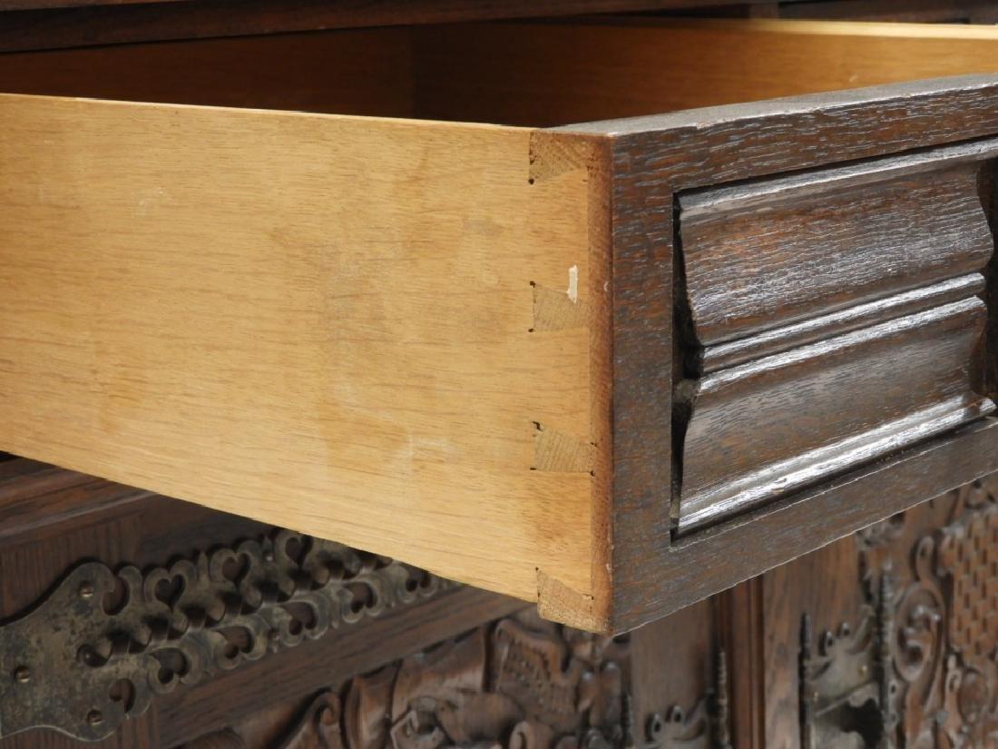 English Renaissance Oak Carved Hunt Board Server - 8