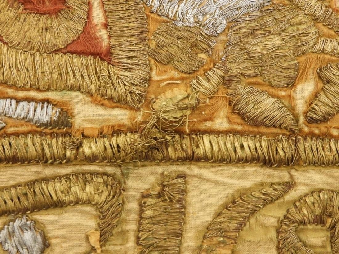 18C Turkish Oriental Gold Silver Thread Tapestry - 10
