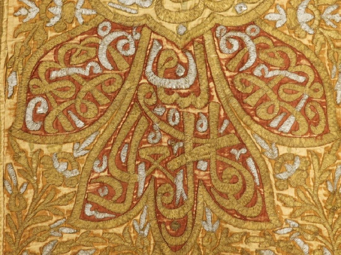 18C Turkish Oriental Gold Silver Thread Tapestry - 3