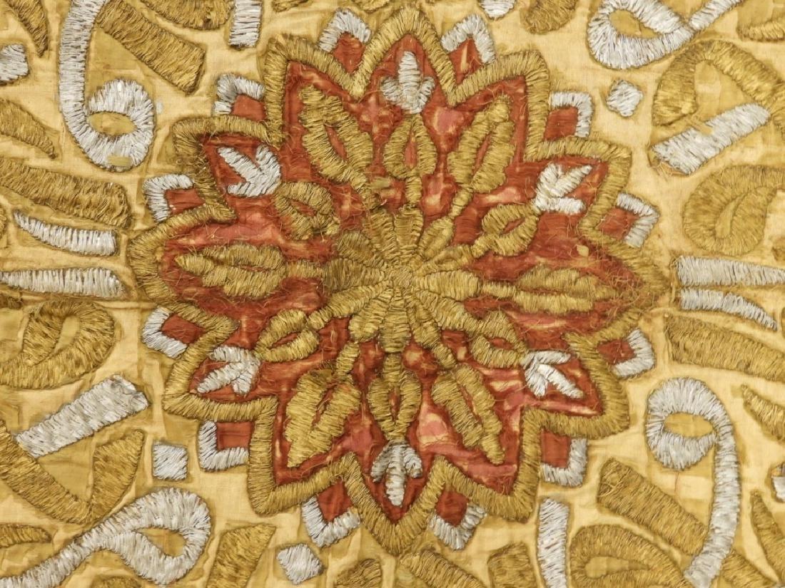 18C Turkish Oriental Gold Silver Thread Tapestry - 4