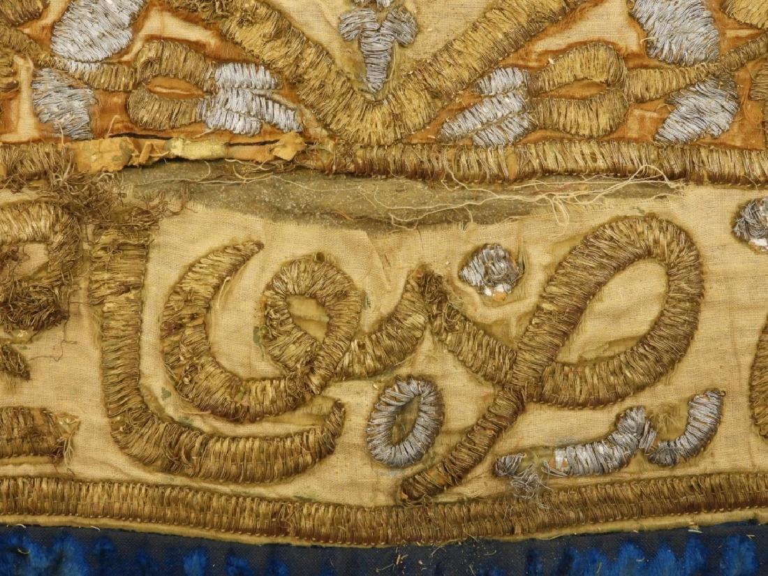 18C Turkish Oriental Gold Silver Thread Tapestry - 9