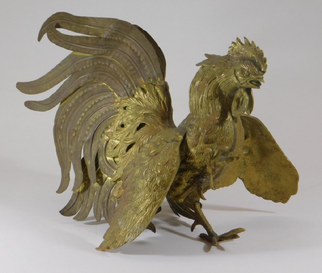 Chinese Brass Fighting Rooster Sculpture