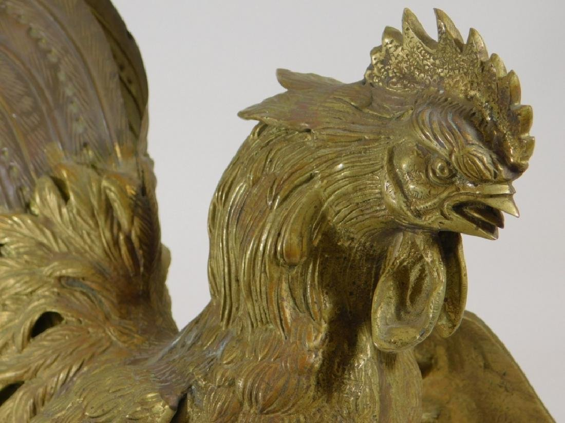 Chinese Brass Fighting Rooster Sculpture - 2