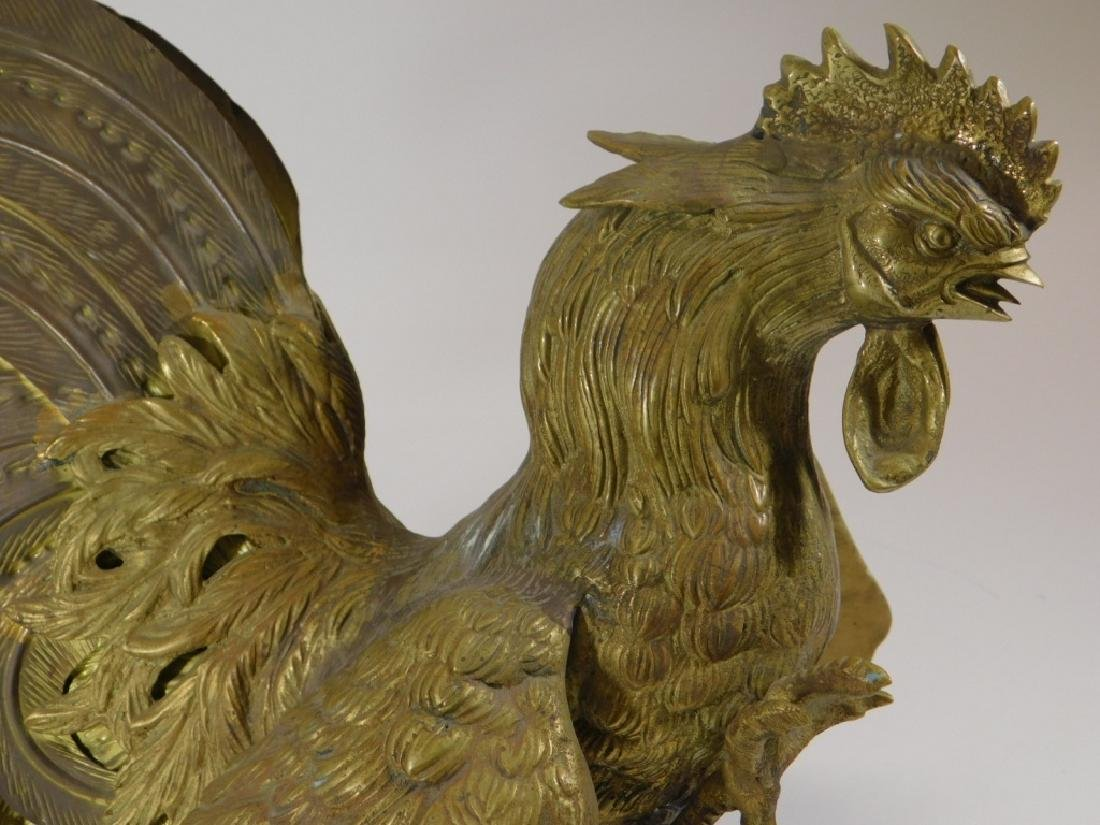 Chinese Brass Fighting Rooster Sculpture - 3