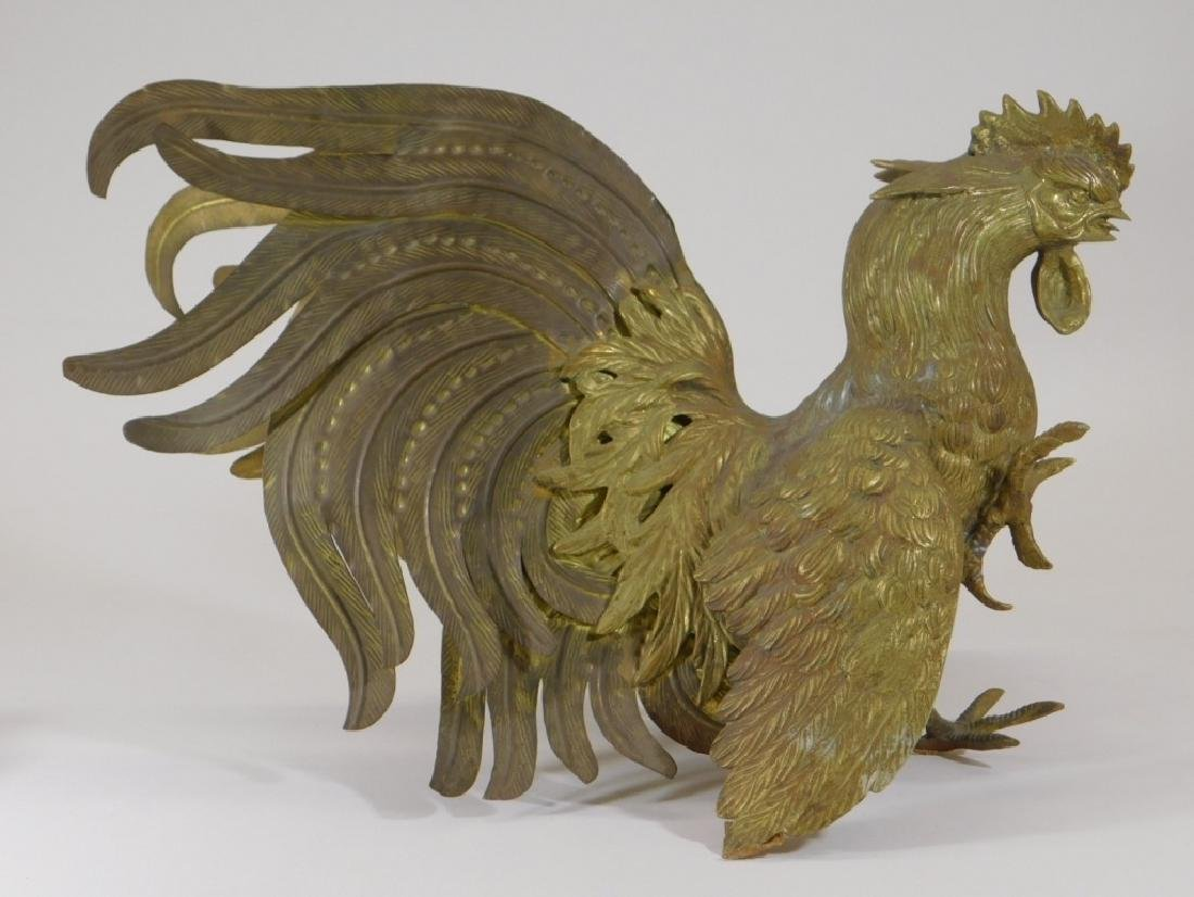 Chinese Brass Fighting Rooster Sculpture - 4