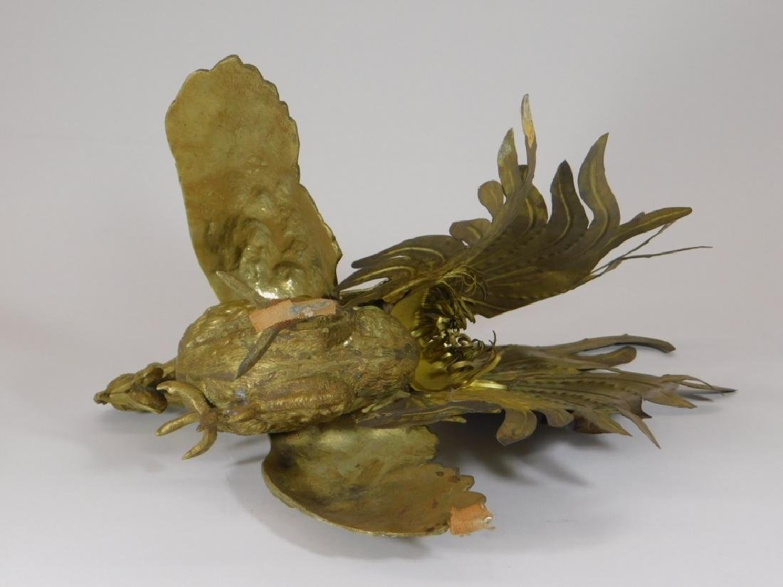Chinese Brass Fighting Rooster Sculpture - 6