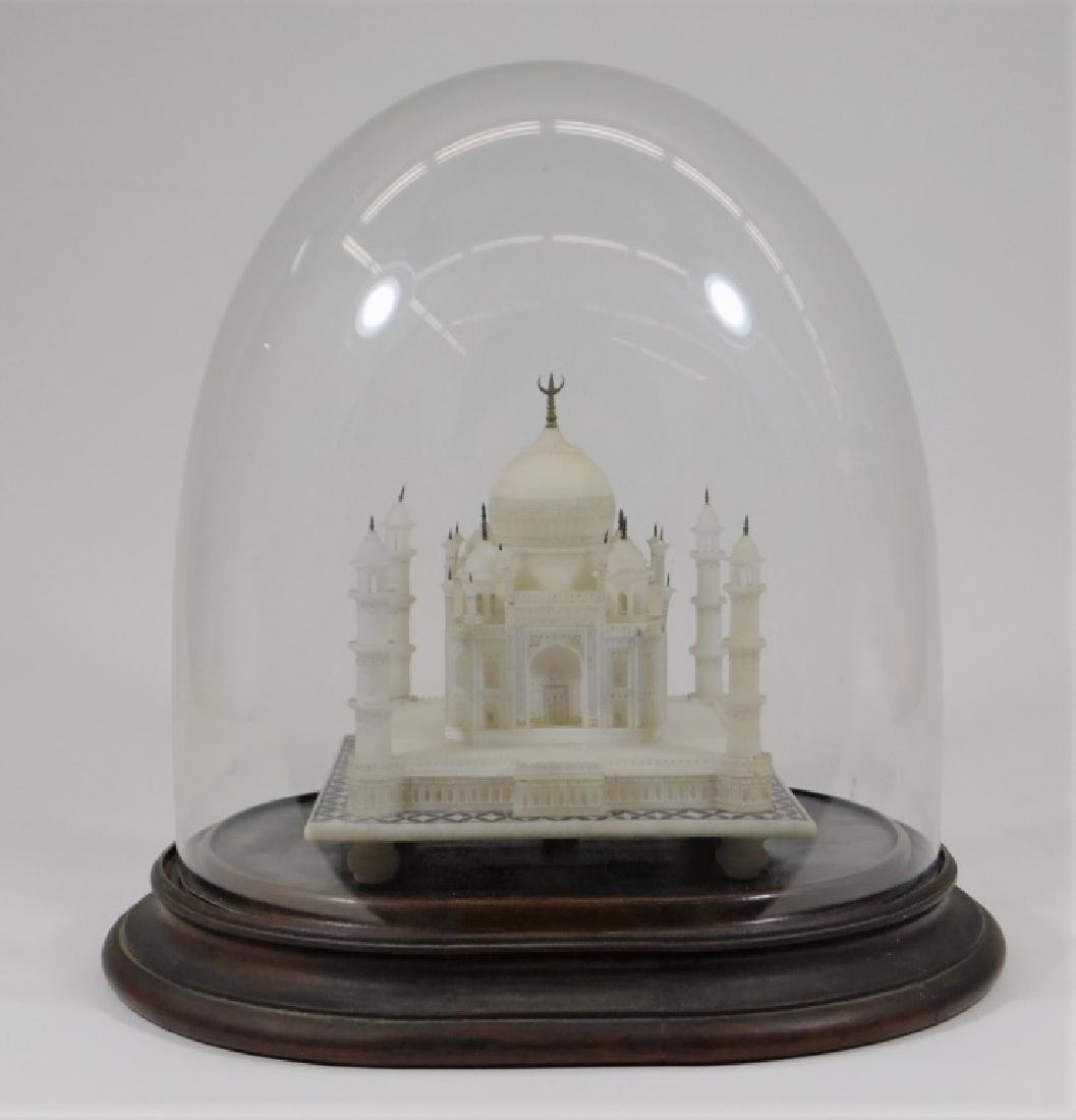 19C Indian Alabaster Taj Mahal Model in Glass Dome