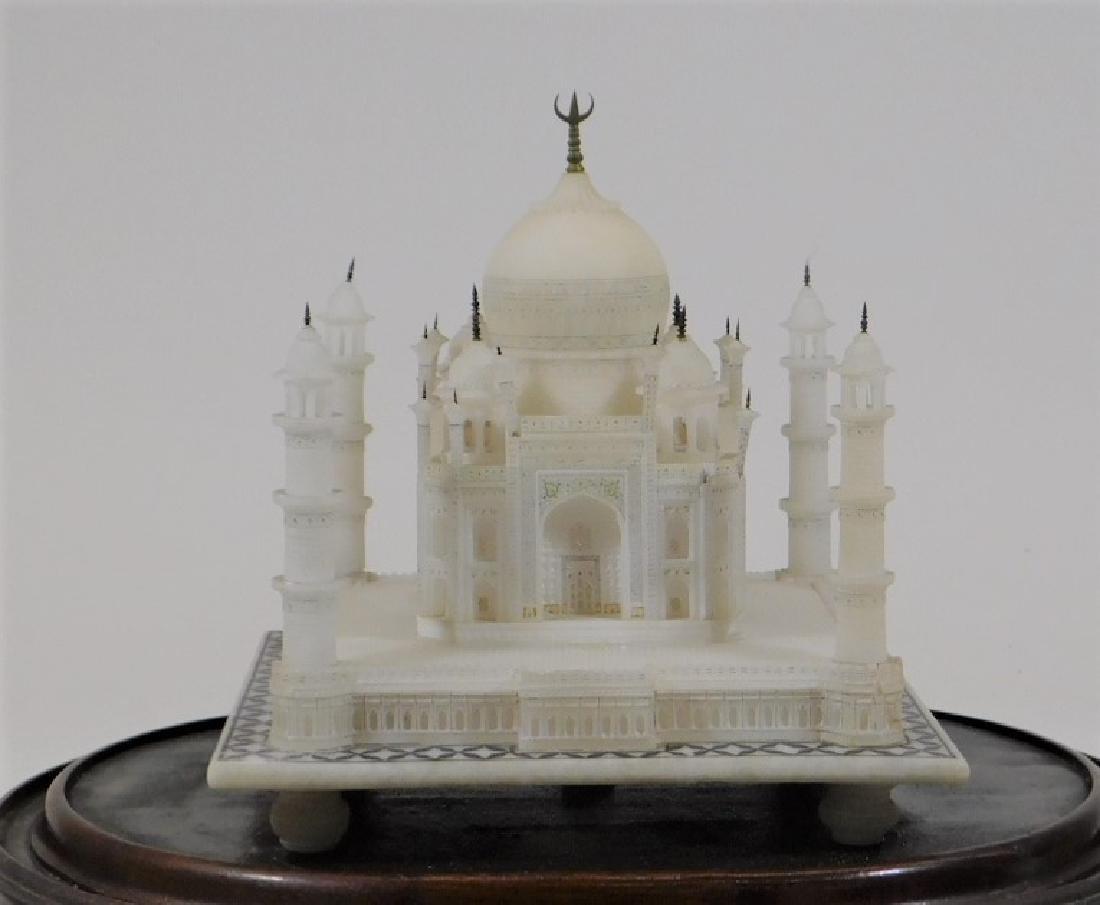 19C Indian Alabaster Taj Mahal Model in Glass Dome - 2