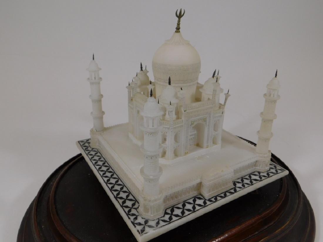 19C Indian Alabaster Taj Mahal Model in Glass Dome - 3