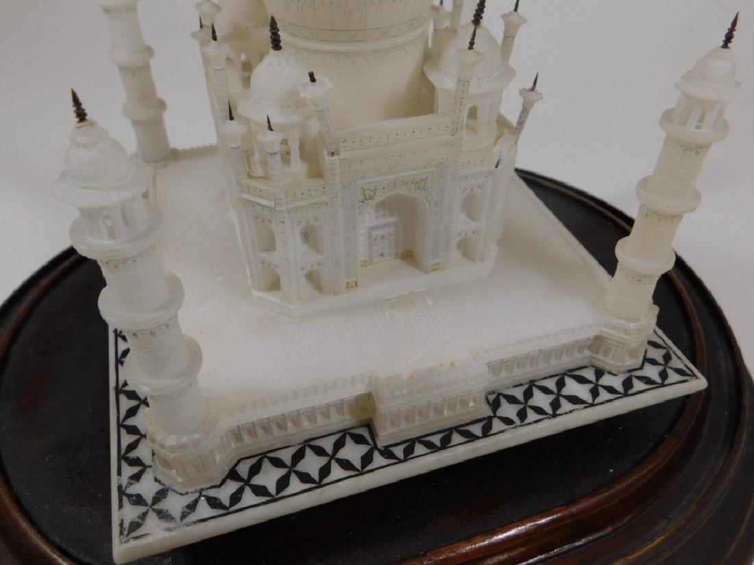 19C Indian Alabaster Taj Mahal Model in Glass Dome - 5