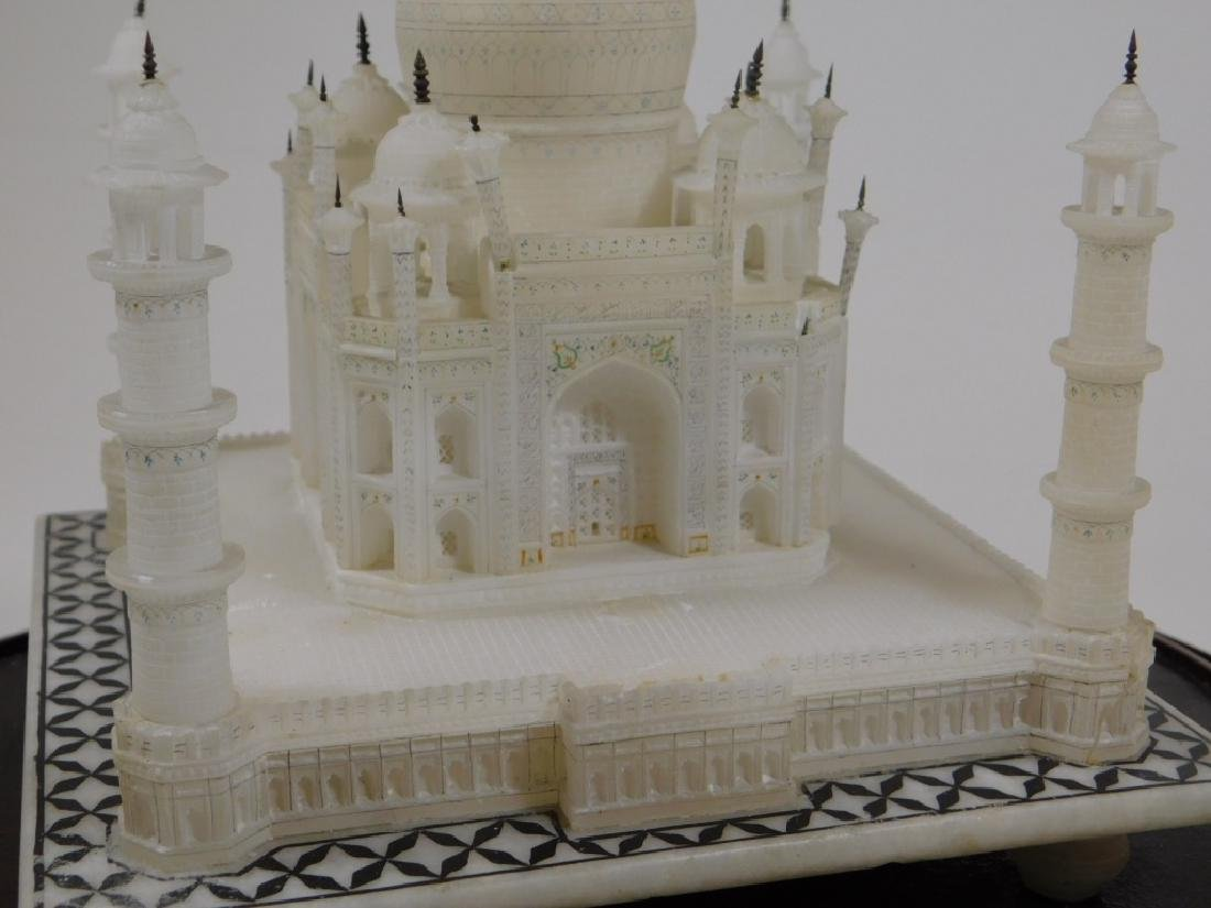 19C Indian Alabaster Taj Mahal Model in Glass Dome - 6
