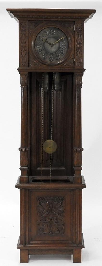 European Carved Oak Renaissance Tall Case Clock