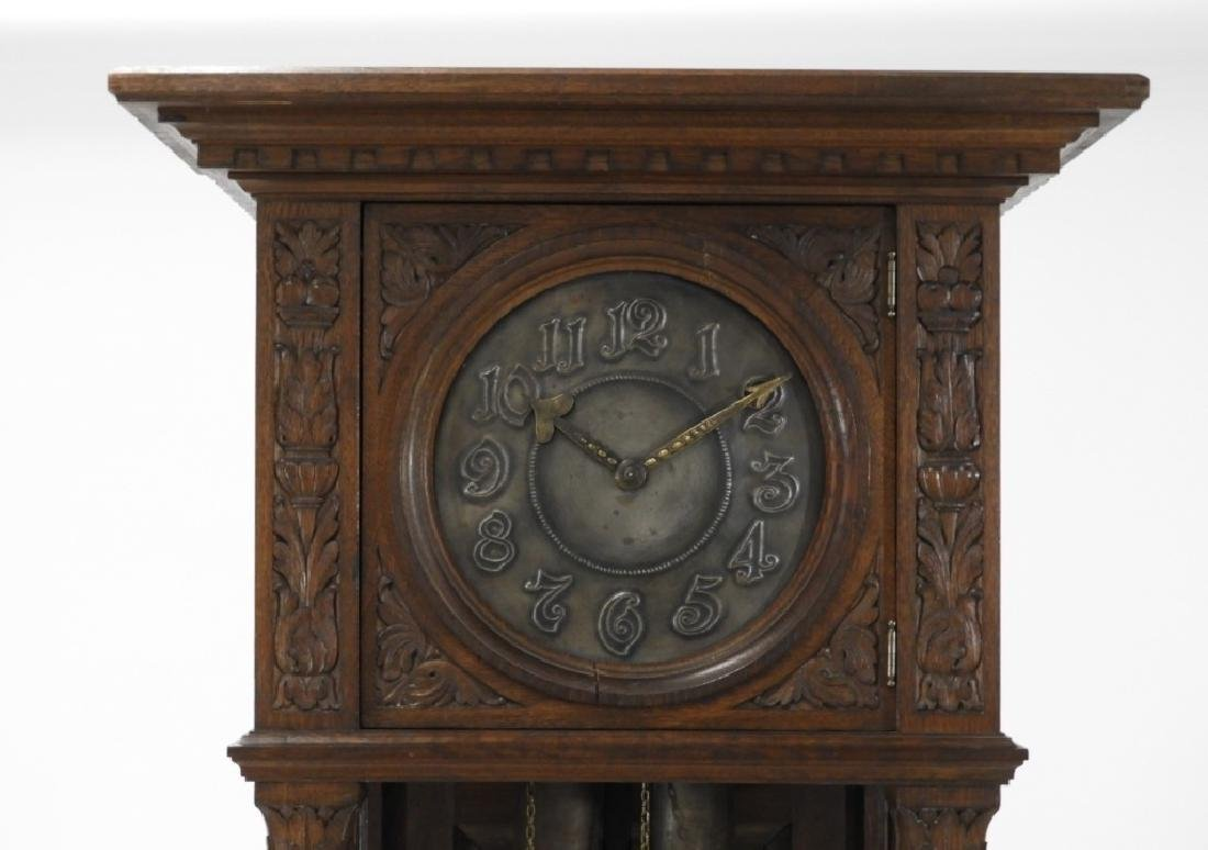 European Carved Oak Renaissance Tall Case Clock - 2