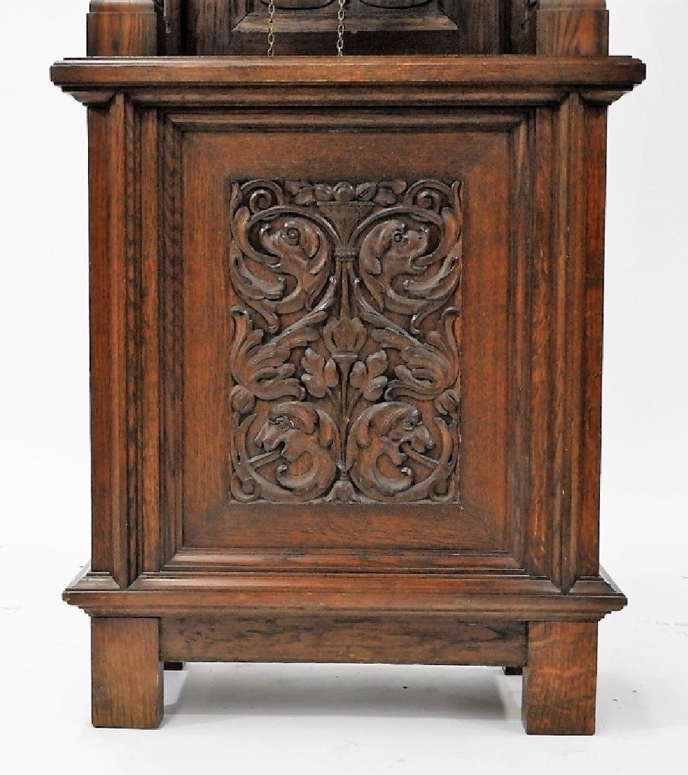 European Carved Oak Renaissance Tall Case Clock - 3