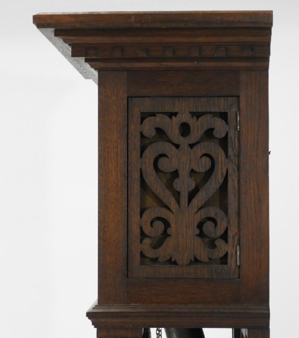 European Carved Oak Renaissance Tall Case Clock - 9