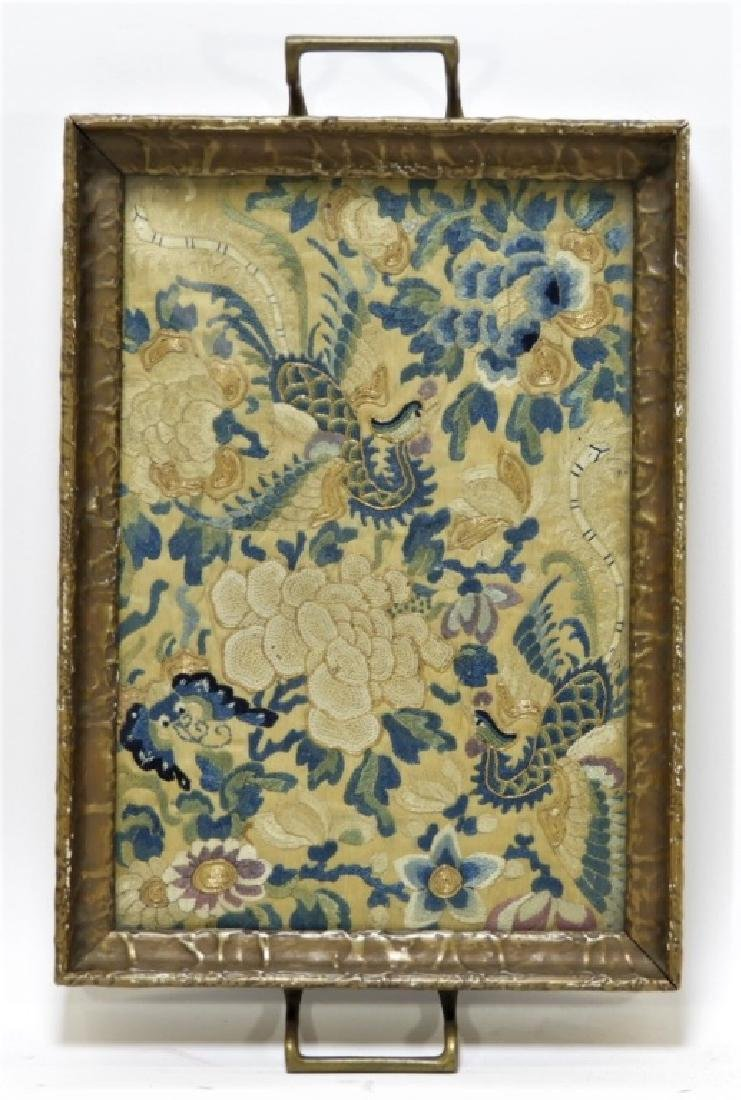 19C. Chinese Forbidden Stitch Silk Textile Tray