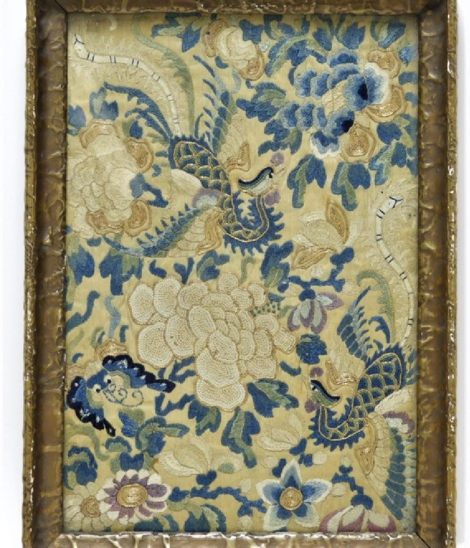 19C. Chinese Forbidden Stitch Silk Textile Tray - 2