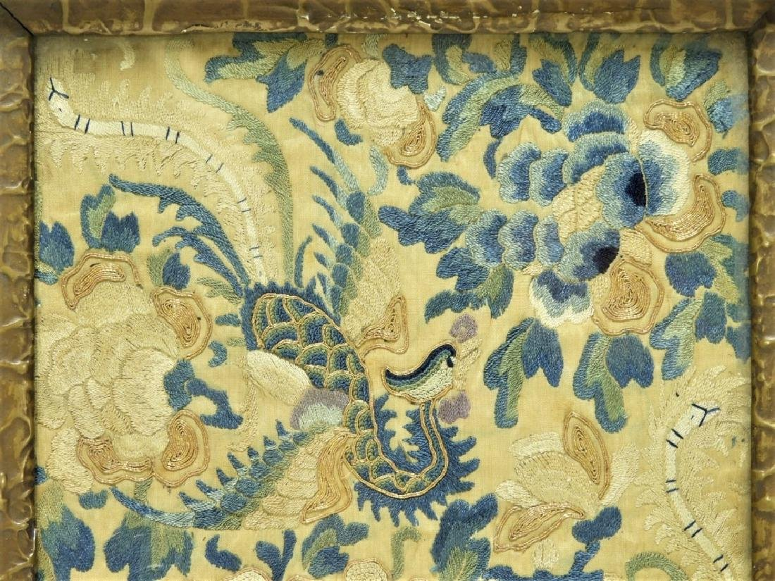 19C. Chinese Forbidden Stitch Silk Textile Tray - 3