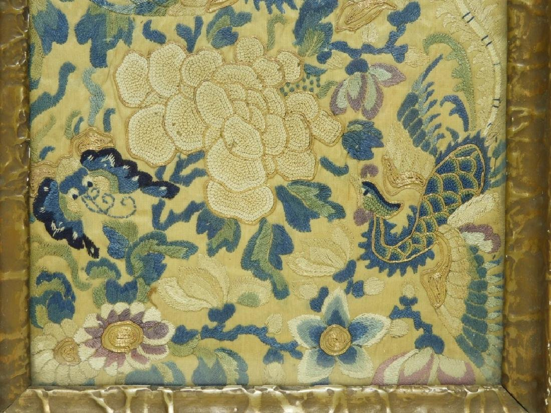 19C. Chinese Forbidden Stitch Silk Textile Tray - 4