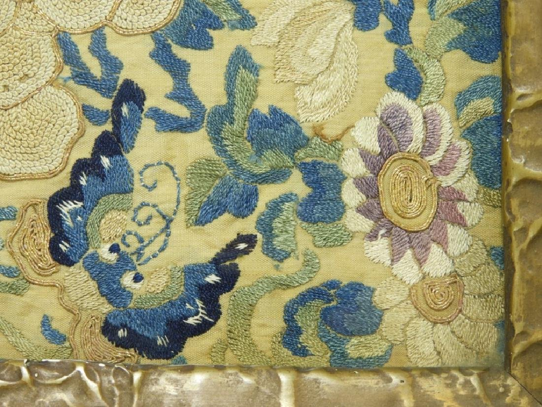 19C. Chinese Forbidden Stitch Silk Textile Tray - 5
