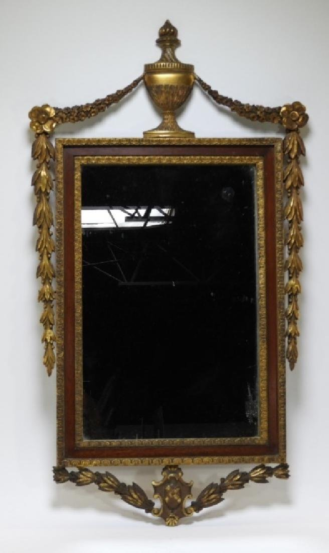 19C American Federal Gilt Mahogany Wall Mirror