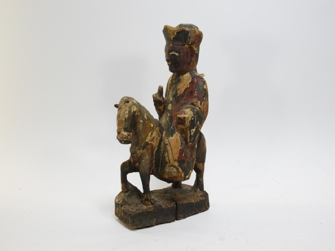 19C. Chinese Polychrome Wood Official on Horseback