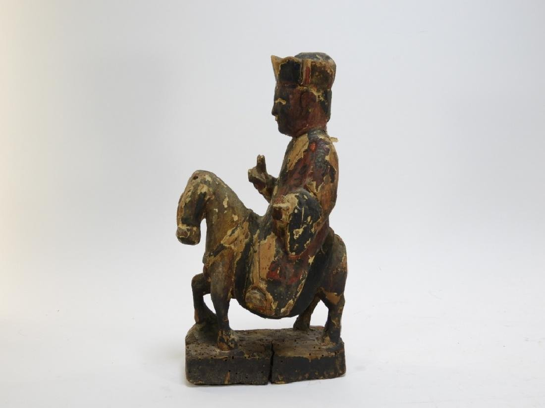 19C. Chinese Polychrome Wood Official on Horseback - 2