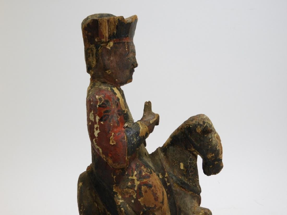 19C. Chinese Polychrome Wood Official on Horseback - 5