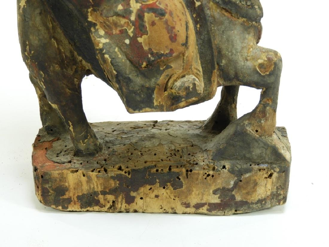 19C. Chinese Polychrome Wood Official on Horseback - 6