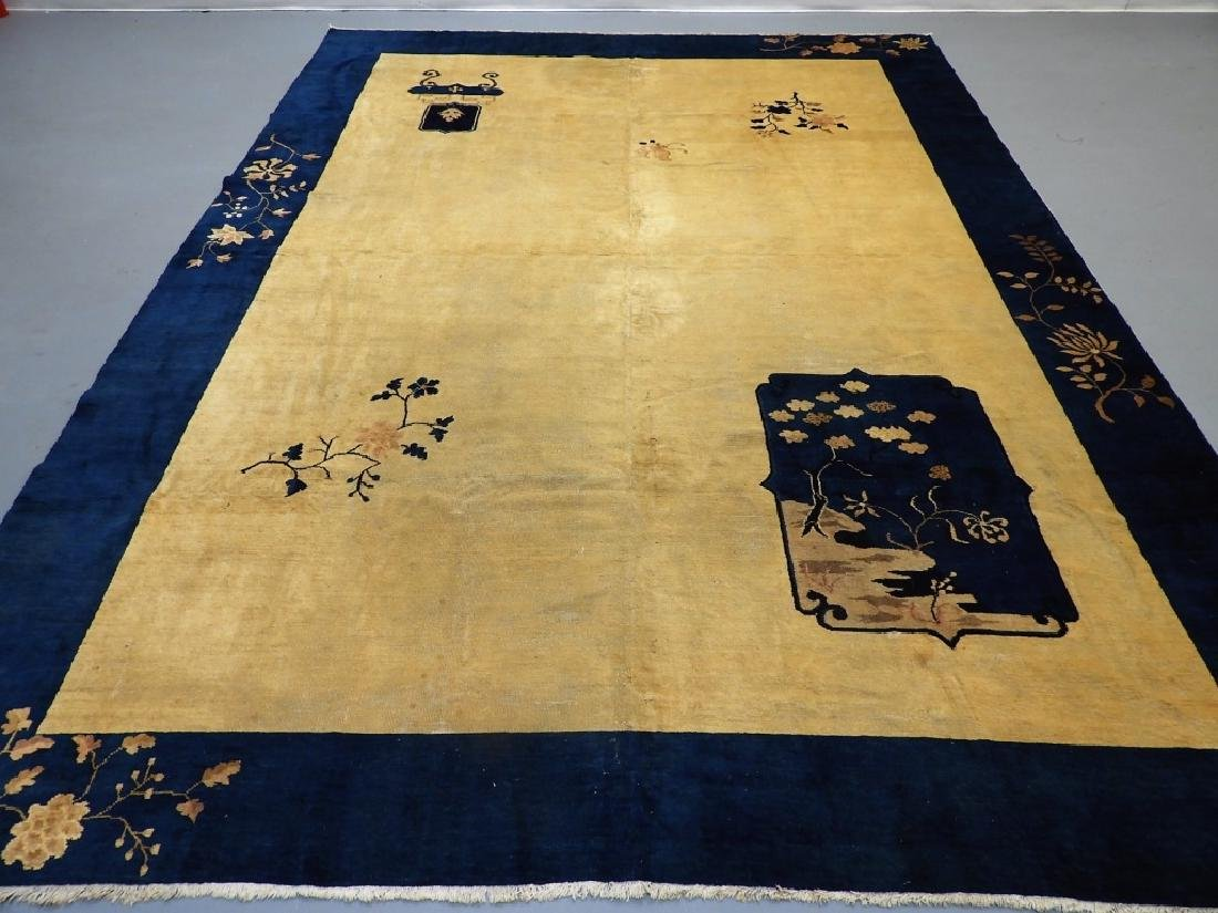 Chinese Art Deco Ivory & Navy Blue Room Size Rug