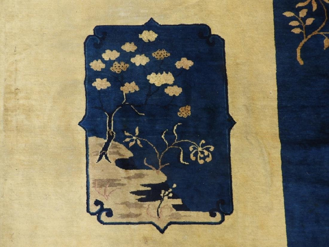 Chinese Art Deco Ivory & Navy Blue Room Size Rug - 2