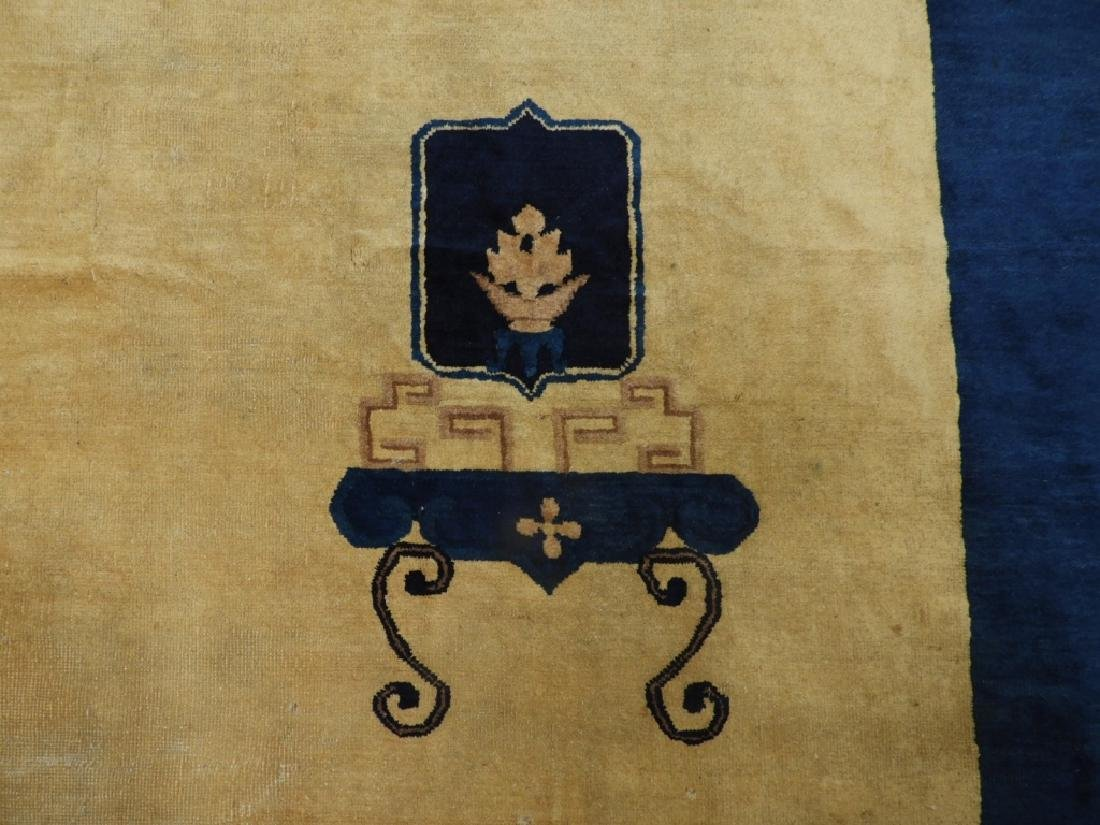 Chinese Art Deco Ivory & Navy Blue Room Size Rug - 3