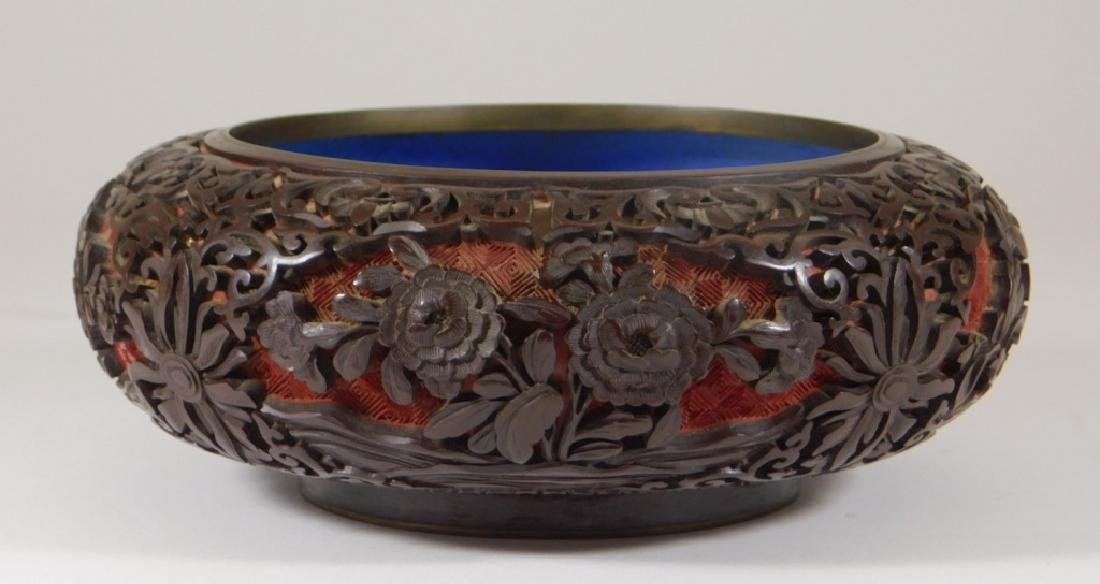 Chinese 2 Color Cinnabar Lacquerware Brass Bowl
