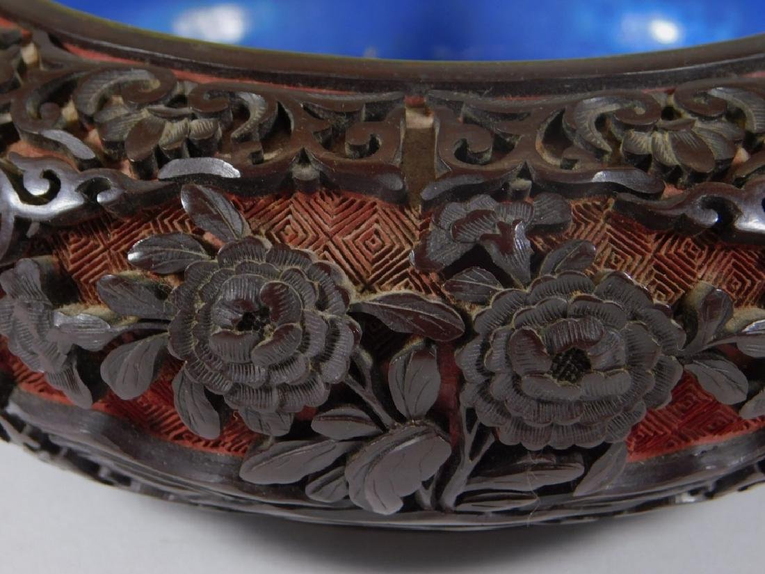 Chinese 2 Color Cinnabar Lacquerware Brass Bowl - 2