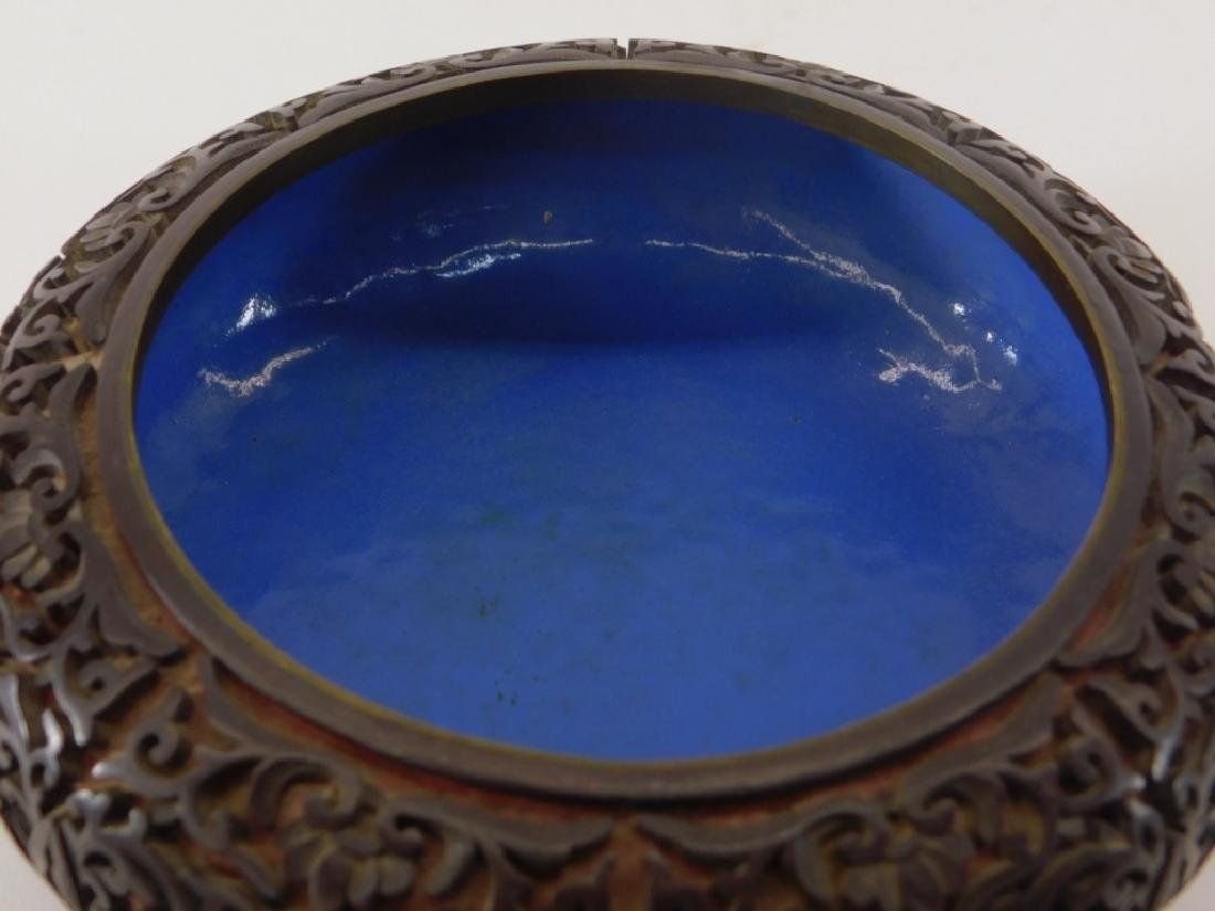 Chinese 2 Color Cinnabar Lacquerware Brass Bowl - 3