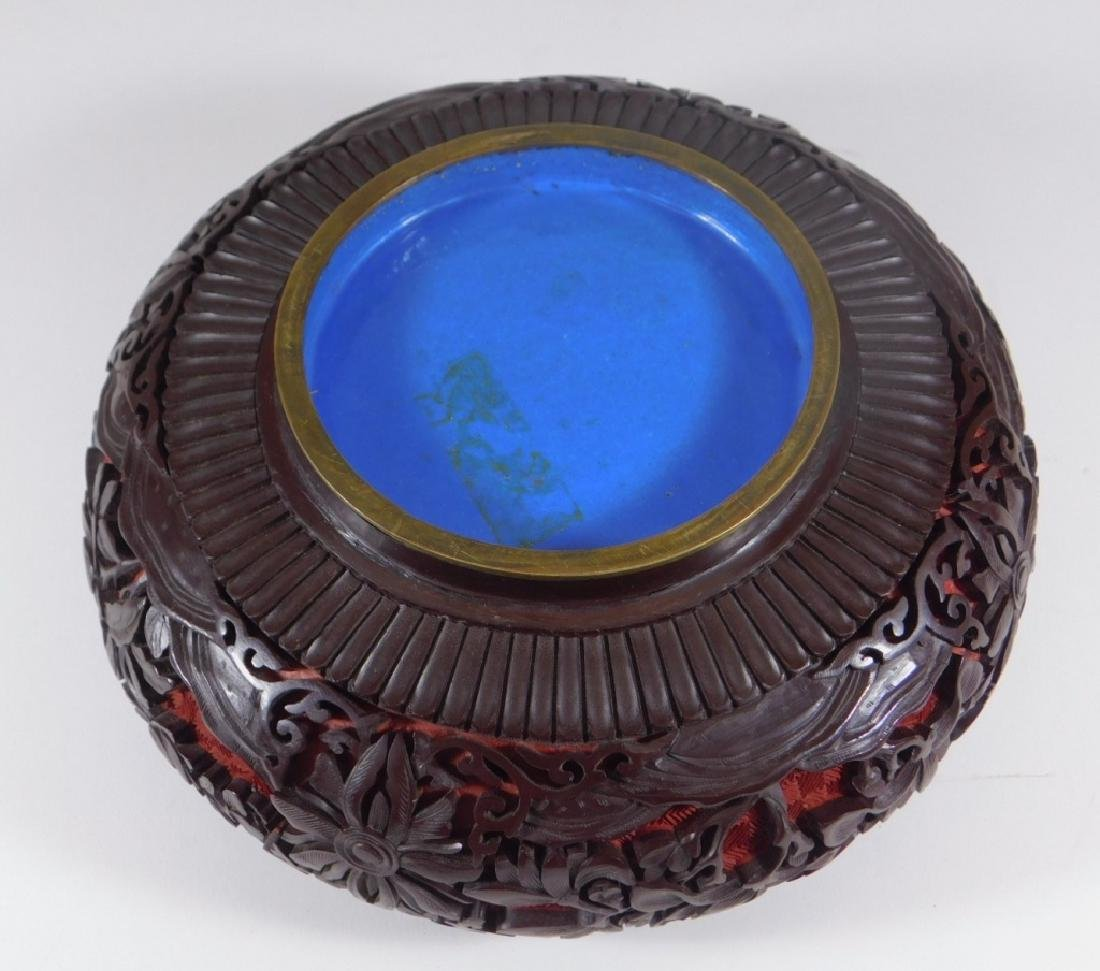 Chinese 2 Color Cinnabar Lacquerware Brass Bowl - 4